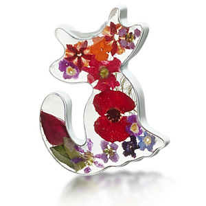 Silver Brooch - Mixed Flowers - Cat