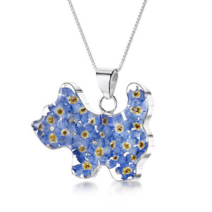 Silver Pendant - Forget-Me-Not - Scotty Dog