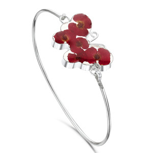 Silver Bangle - Poppy - Butterfly
