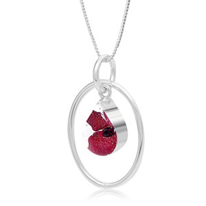 Silver Pendant - Poppy - Oval Surround