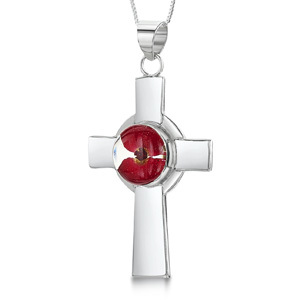 Silver Pendant - Poppy - Celtic Cross