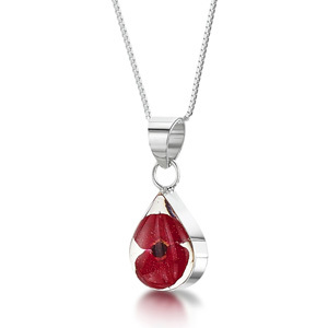 Silver Pendant - Poppy - Small Teardrop