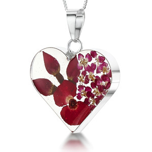 Silver Pendant - Poppy - Medium Heart