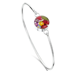 Silver Bangle - Mixed - Round