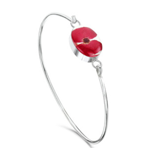 Silver Bangle - Poppy - Oval