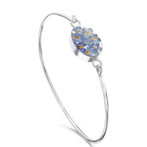 Silver Bangle - Forget-Me-Not - Oval
