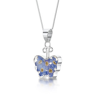 Silver Pendant - Forget-Me-Not - Butterfly