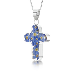 Silver Pendant - Forget-Me-Not - Medium Cross