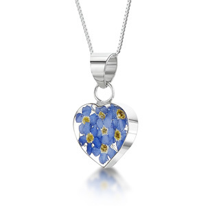 Silver Pendant - Forget-Me-Not - Large Heart