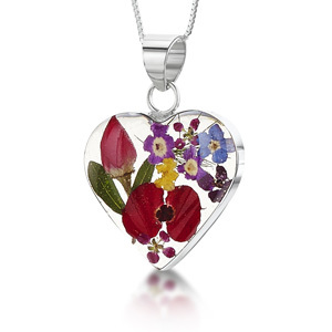 Silver Pendant - Mixed Flowers - Medium Heart