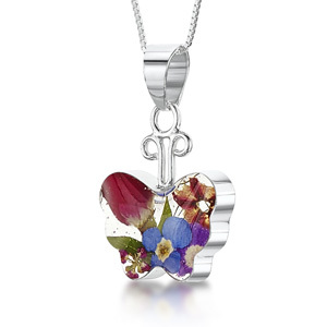 Silver Pendant - Mixed Flowers - Small Butterfly