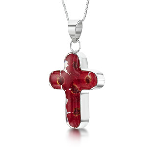 Silver Pendant - Poppy - Medium Cross