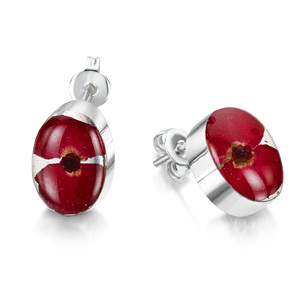 Silver Stud Earrings - Poppy - Oval