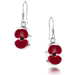Silver Drop Earrings - Poppy - Oval