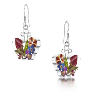 Silver Drop Earrings - Mixed Flowers - Small Butterfly