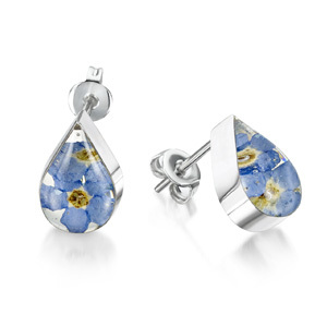 Silver Stud Earrings - Forget-Me-Not - Teardrop