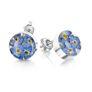 Silver Stud Earrings - Forget-Me-Not - Round