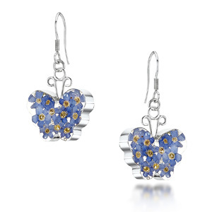 Silver Drop Earrings - Forget-Me-Not - Butterfly