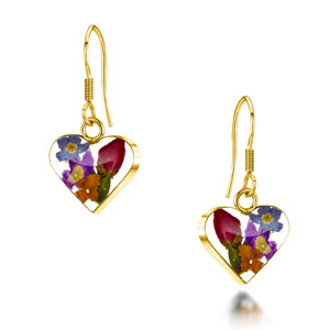 23K Gold Plated Drop Earrings - Mixed Flowers - Small Heart
