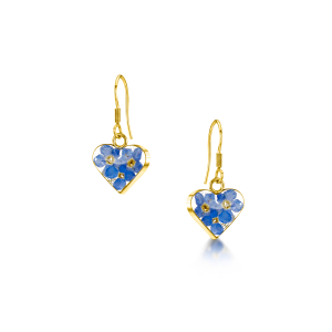 23K Gold Plated Drop Earrings - Forget-Me-Not - Heart