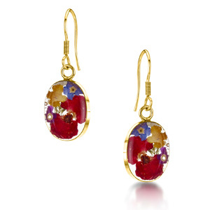 23K Gold Plated Drop Earrings - Mixed Flowers - Oval