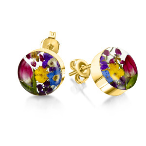 23K Gold Plated Stud Earrings - Mixed flowers - Small Round