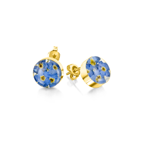 23K Gold Plated Stud Earrings - Forget-Me-Not - Round