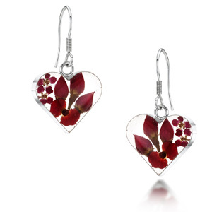 Silver Drop Earrings - Bohemia - Medium Heart