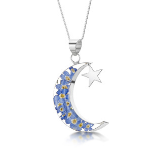 Silver Pendant - Forget-Me-Not - Moon & Star