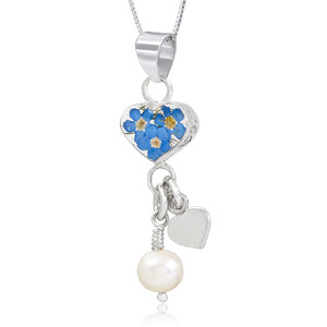 Silver Pendant - Forget-Me-Not - Heart & Pearl