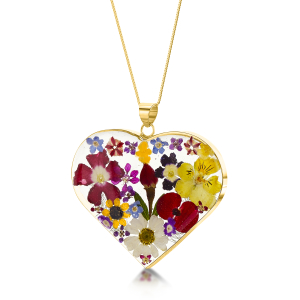 23K Gold Plated Necklace - Mixed Flower - Large Heart