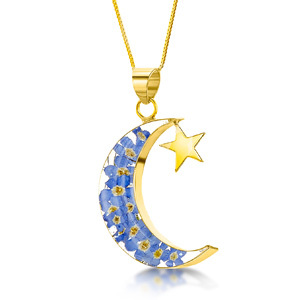23K Gold Plated Necklace - Forget-Me-Not - Moon & Star