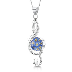Silver Pendant - Forget-Me-Not - Large Treble Clef