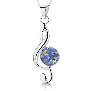 Silver Pendant - Forget-Me-Not - Medium Treble Clef