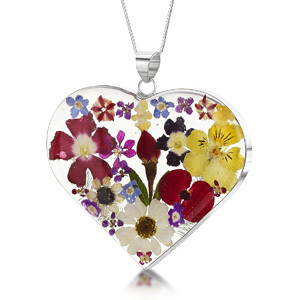 Silver Pendant - Mixed Flowers - Large Heart