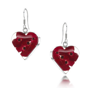 Silver Drop Earrings - Poppy - Heart