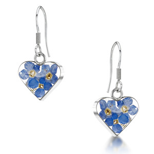 Silver Drop Earrings - Forget-Me-Not - Heart
