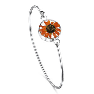 Silver Bangle - Sunflower- Round