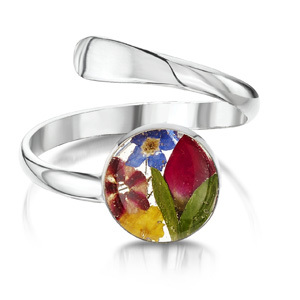 Silver Ring - Mixed Flowers - Round