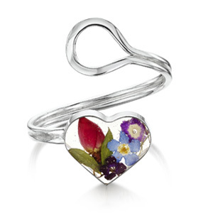 Silver Ring - Mixed Flowers - Heart