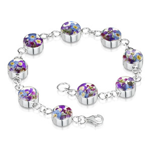 Silver Bracelet - Purple Haze - Round Charms