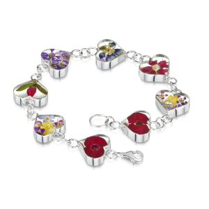 Silver Bracelet - Mixed Flowers - Heart Charm