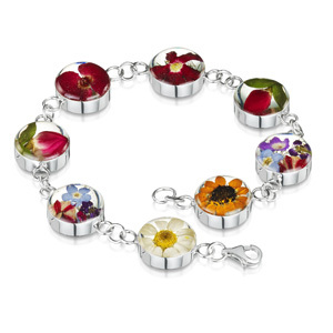 Silver Bracelet - Mixed Flowers - Round Charm