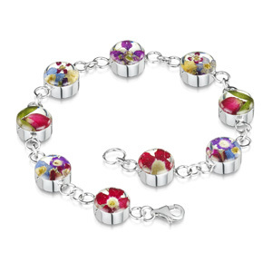 Silver Bracelet - Mixed Flowers - Small Round Charm