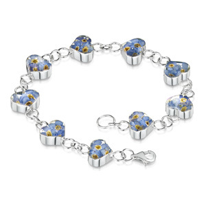 Silver Bracelet - Forget-Me-Not - Heart Charm