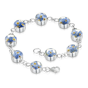 Silver Bracelet - Forget-Me-Not - Round Charm