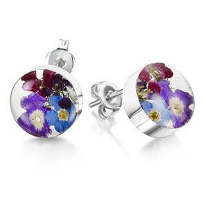 Silver Stud Earrings - Purple Haze - Round