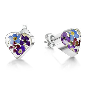 Silver Stud Earrings - Purple Haze - Heart