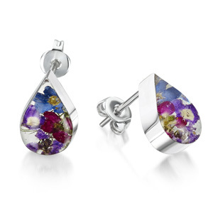 Silver Stud Earrings - Purple Haze - Teardrop