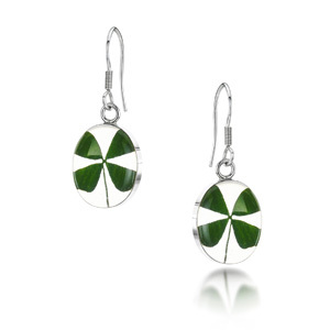 Silver Drop Earrings - Four Leaf Clover - Oval